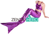 Shiny Metallic Two Piece Purple Color Mermaid Tail Costume