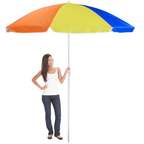 Rainbow Beach Umbrella, 8-foot, (product type), (product vendor), (shop name)- Beachy Girl Designs