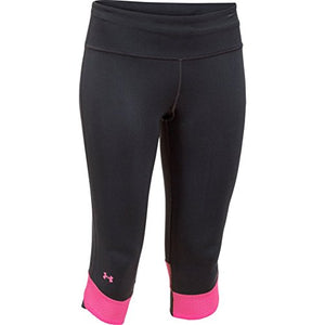 Under Armour Ladies Fly-By Compression Capri 3/4 Pants Black/Rebel Pink