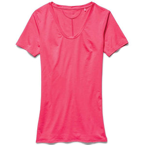 Under Armour Ladies Ua Long and Lean V-Neck T-Shirt in Pink Shock