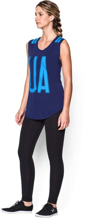 Under Armour Ladies Workout T-Shirt Tank Big Stripe