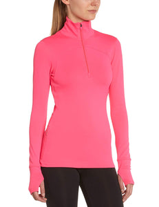 Under Armour Qualifier Knit Ladies Sweatshirt with 1/4 Zip Pink Large
