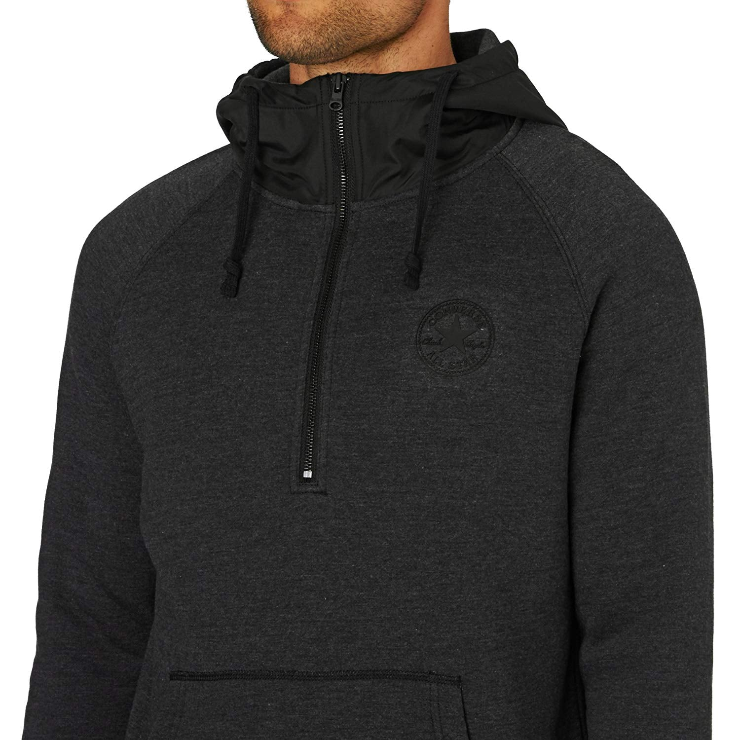 Men's CONVERSE 1/2 Zip Long Sleeve Hoodie Black
