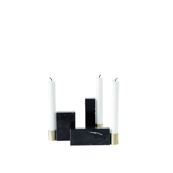 Square Marble Candlesticks · Set of 3
