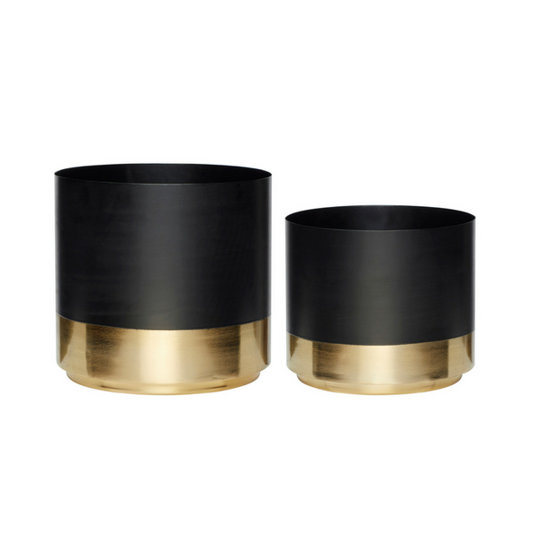 Black and Brass Pots, Set of 2