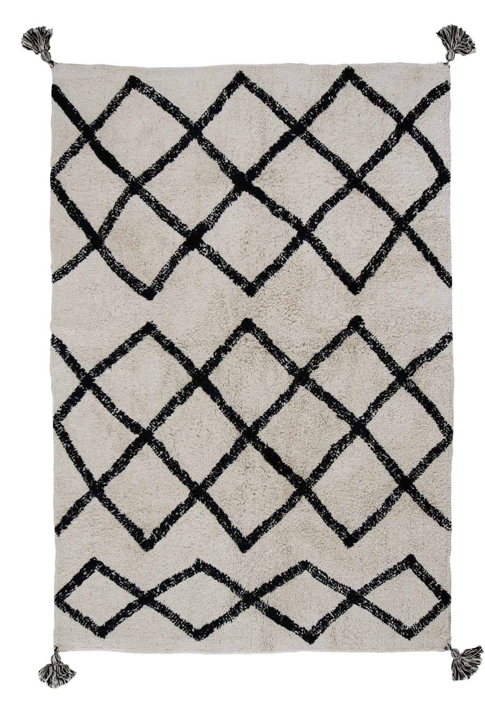 Black & White Washable Cotton Berber Rug