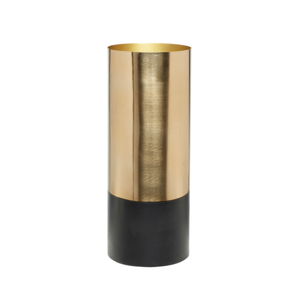 Tall Brass Vase with Black Base
