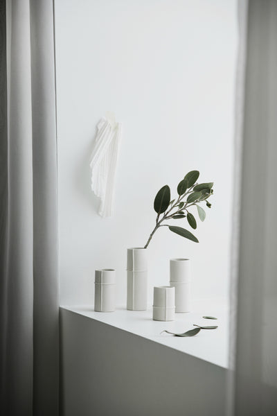 Bud Vase Set of 4 - Raw White