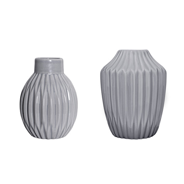 Grey Fluted Vases, Set of 2
