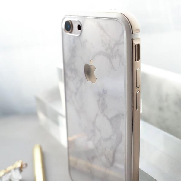 iPhone White Marble Skin with Gold Bumper Case