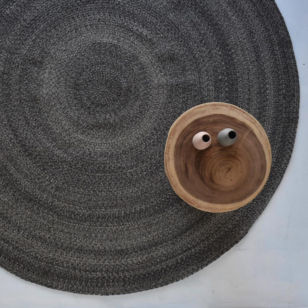 Round Braided Rug - Midnight