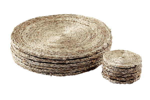 Zinnia Weave Placemats and Coasters (Set of 6) - Pewter