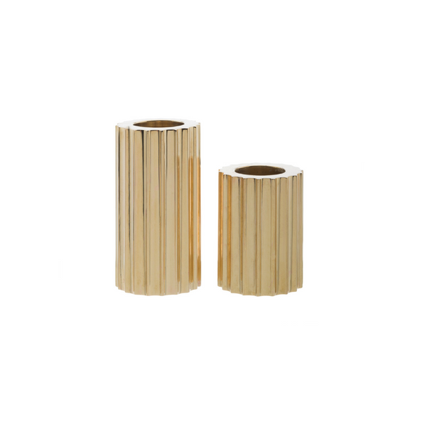 Ribb Candle Holder, Set of 2 - Brass