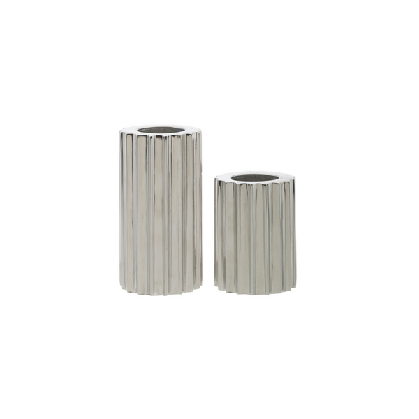 Ribb Candle Holder, Set of 2 - Silver