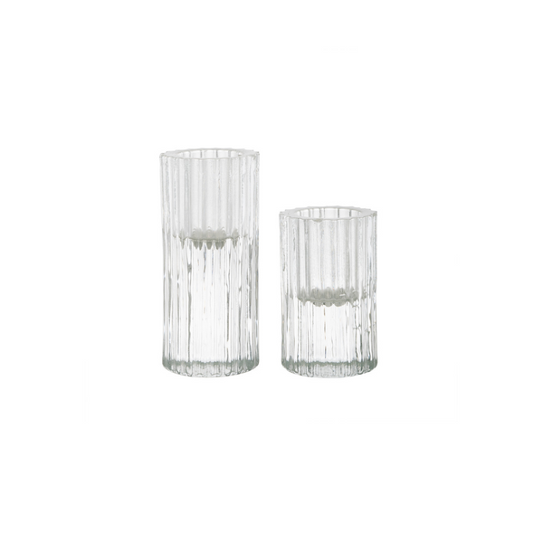 Ribb Candle Holder, Set of 2 - Glass