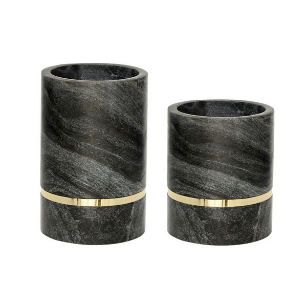 Royal Black Marble Vase, Marble, Brass, Set of 2