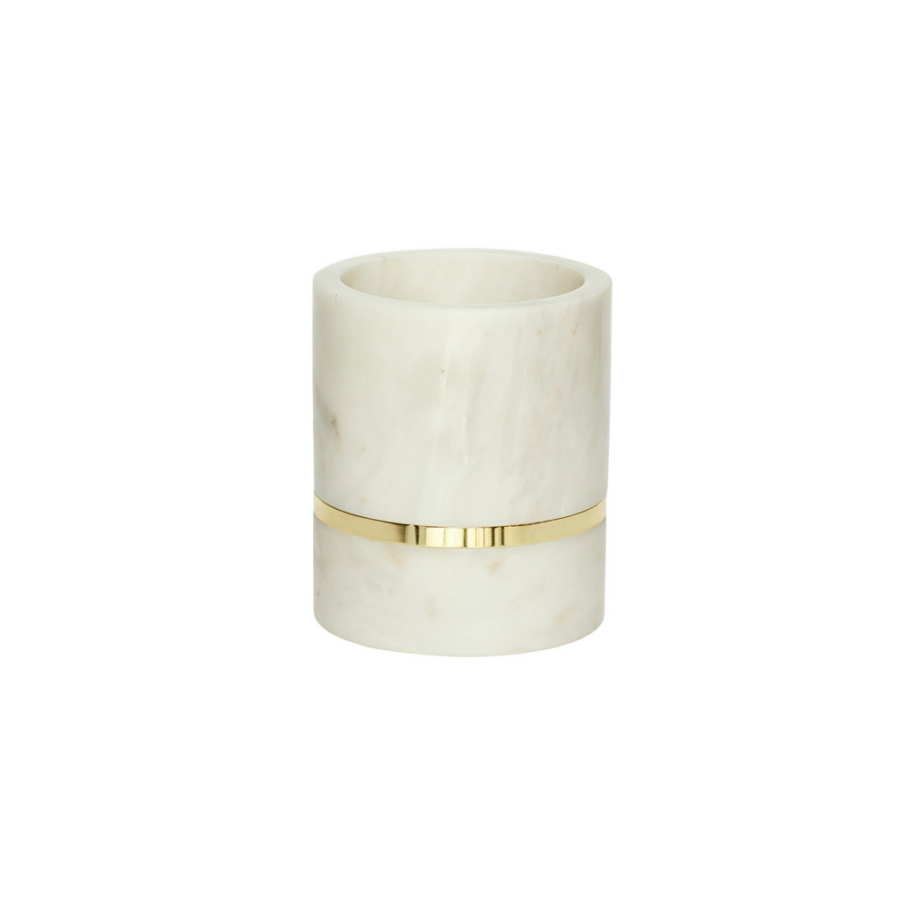 Royal White Marble Vase, Marble, Brass, Set of 2