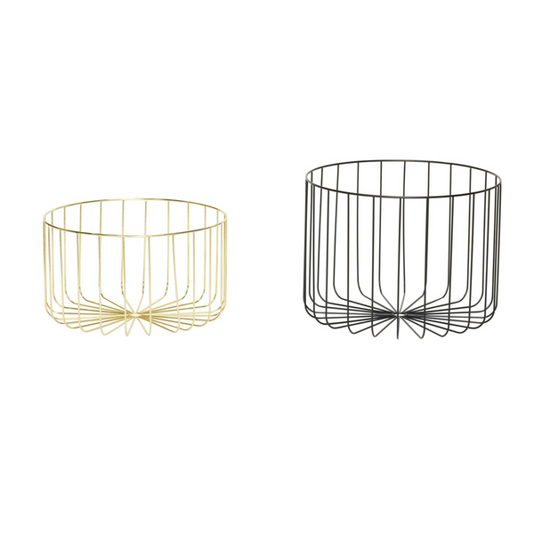 Seneca Wire Baskets, Metal, Black, Gold, Set of 2