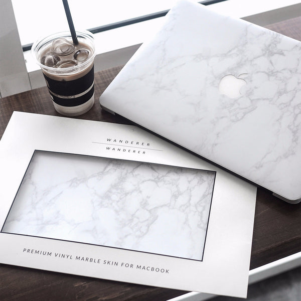 Premium White Marble Skin for Macbook (Front+Bottom)