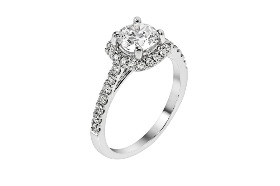 French Cut Pave Diamond Engagement Ring