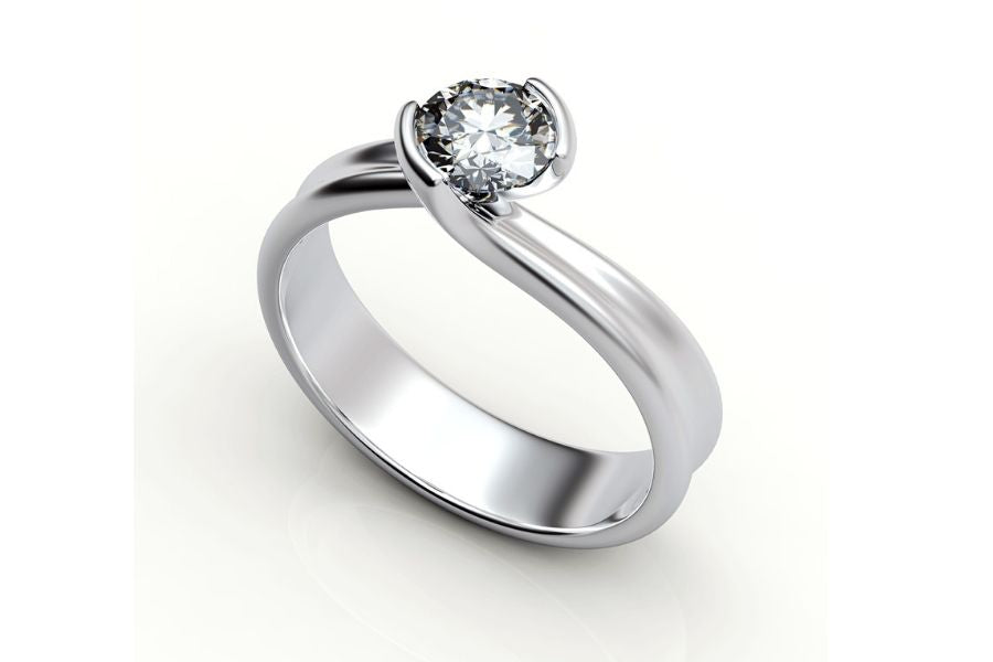 Twisting Solitaire Diamond Engagement Ring