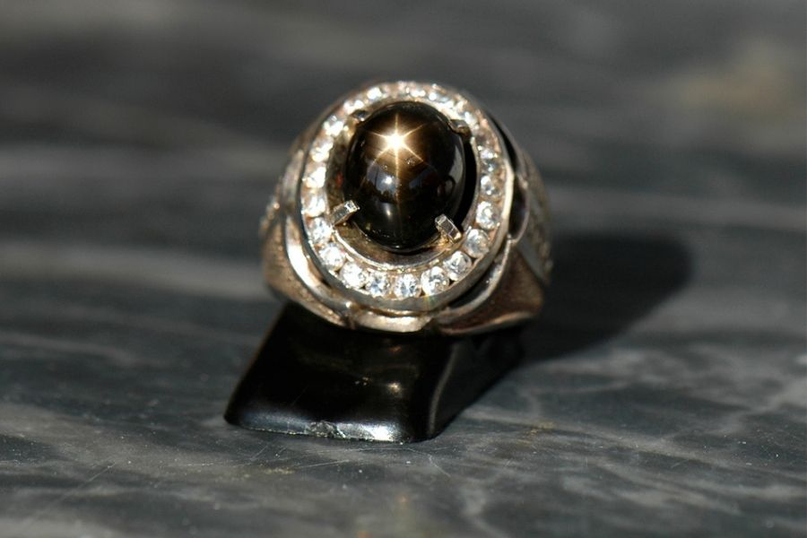 Close up of a black sapphire ring
