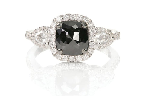 black spinel and diamond engagement ring