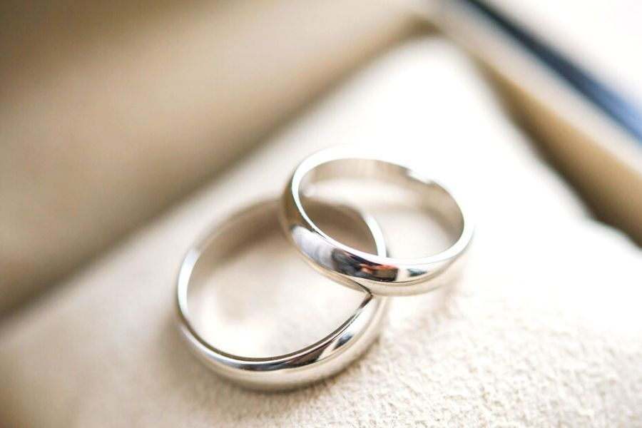 close up of white gold wedding rings