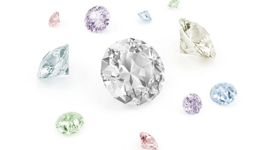 colored diamonds on white background