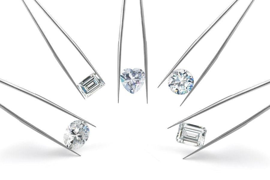 different diamond cuts on tweezers