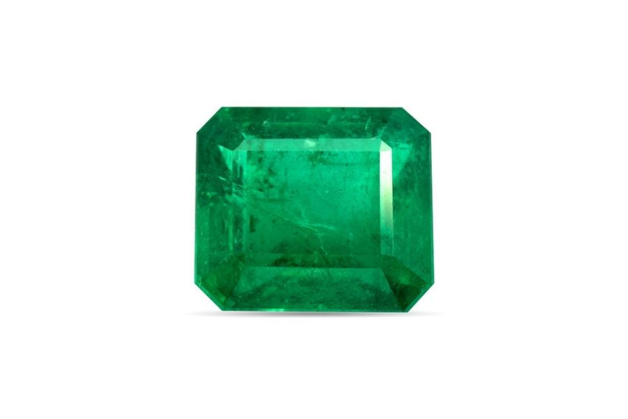 Emerald stone on a white background