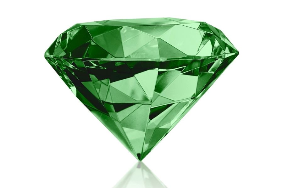 Green diamond on against a white background