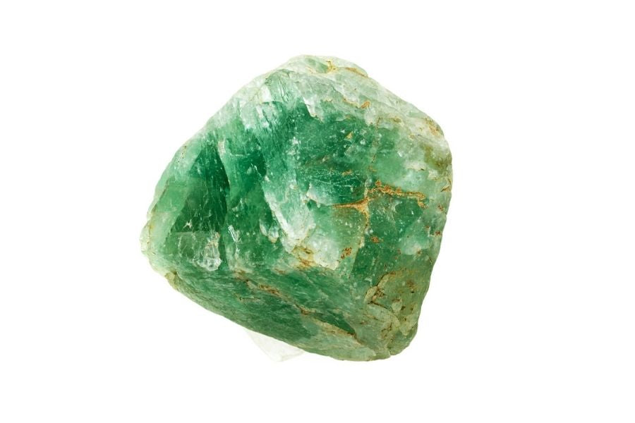 Green fluorite on a white background