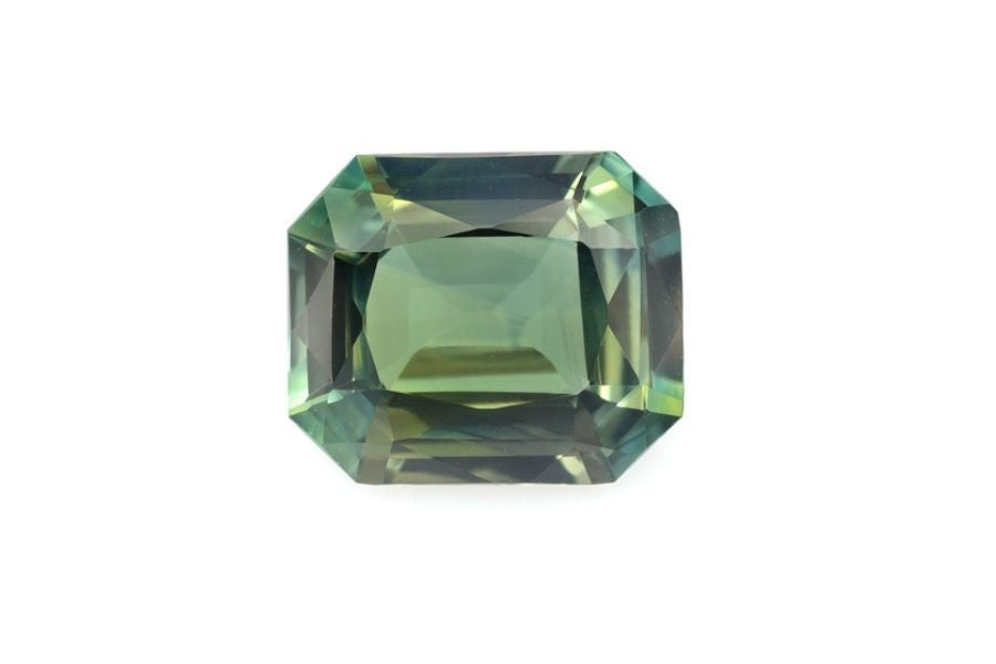 Green sapphire on a white background