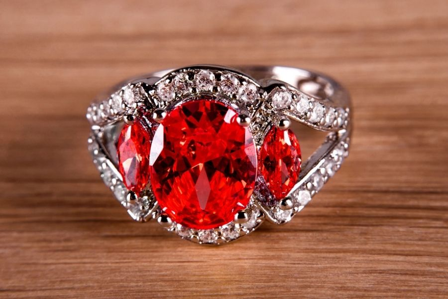 red diamond on white gold ring