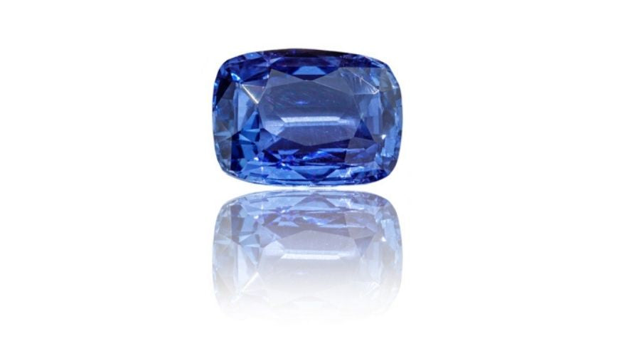Sapphire stone isolated against a white background