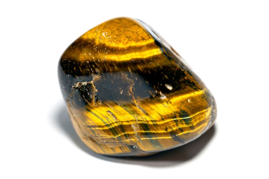 Close up of Tiger's Eye on a white background.