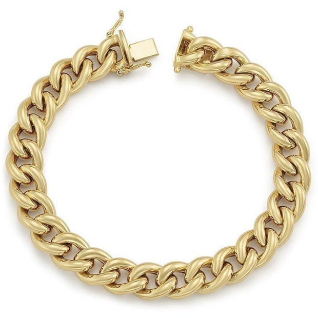 14K Gold Hollow Curb Link Bracelet - Lexie Jordan Jewelry