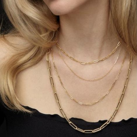 14k Gold Paper Clip Chain - Lexie Jordan Jewelry