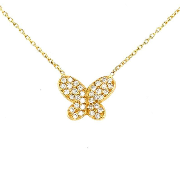 14K Gold Pave Diamond Butterfly Necklace - Lexie Jordan Jewelry