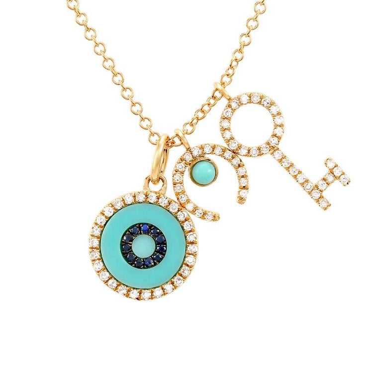 14K Pave Diamond, Horseshoe, Evil eye, and Key Necklace - Lexie Jordan Jewelry