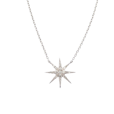 18K White Gold Diamond Star Charm on a Delicate Chain - Lexie Jordan Jewelry