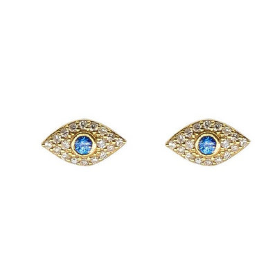 Evil Eye Stud Earrings | 14 kt Yellow Gold | Pave Diamonds | Sapphire - Lexie Jordan Jewelry