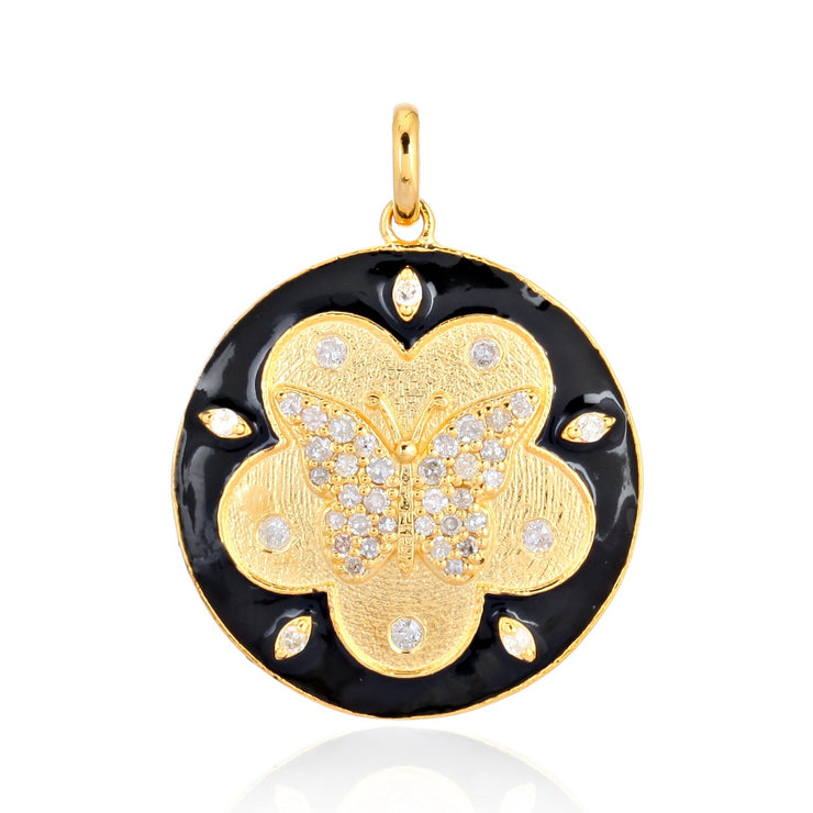 Black enamel with gold and diamond Butterfly charm - Lexie Jordan Jewelry