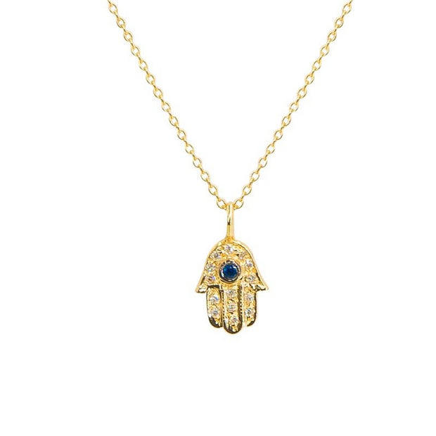 Lucky Hamsa Necklace | Gold | Sapphire and Pave Diamonds - Lexie Jordan Jewelry