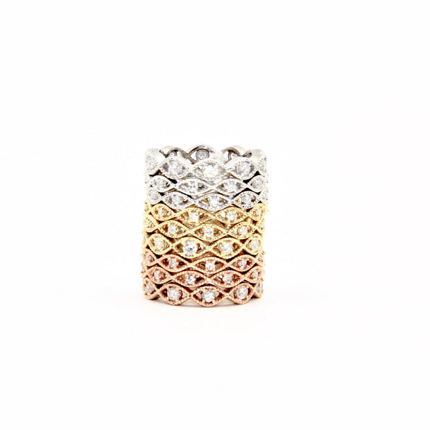Abstract Evil Eye Stacking Rings | 18K Gold | Diamonds - Lexie Jordan Jewelry