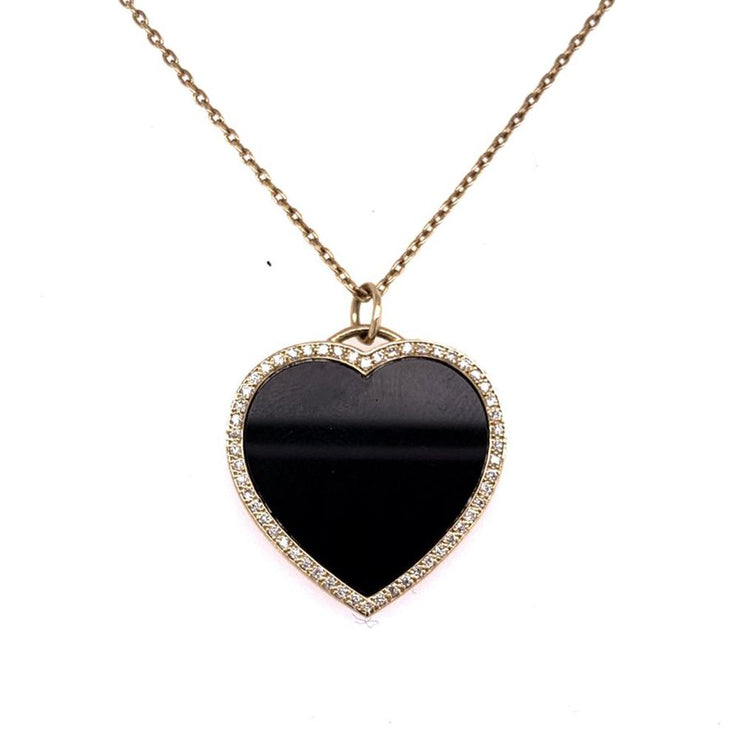 Black Onyx and Diamond Heart Pendant 14K - Lexie Jordan Jewelry