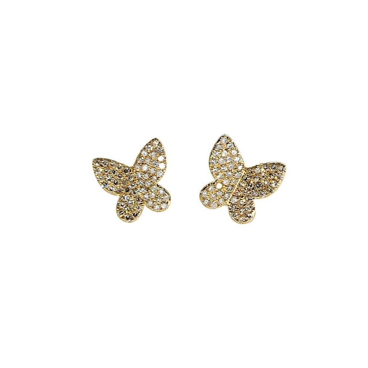 Butterfly Earrings | 14K Gold Studs | Pave Diamonds - Lexie Jordan Jewelry