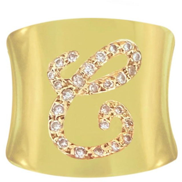 Cigar Diamond Initial Ring - Lexie Jordan Jewelry