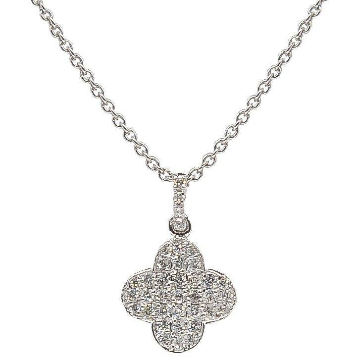 Clover Charm Necklace | Quatrefoil Design | 14K Gold | Pave Diamonds - Lexie Jordan Jewelry